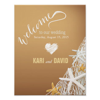 Starfish Netting Beach Wedding Welcome Sign | sand