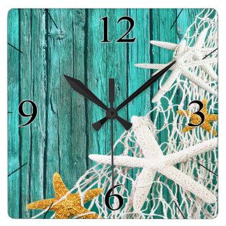 Starfish Netting Beach Wood Coastal Living   aqua Clocks