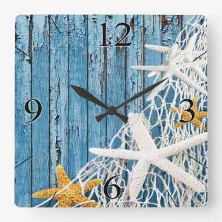 Starfish Netting Beach Wood Coastal Living | blue Square Wall Clock