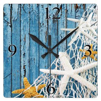 Starfish Netting Beach Wood Coastal Living | blue Square Wall Clock