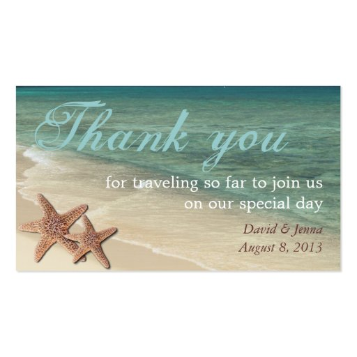 Starfish Ocean Thank You Tag Business Card Template