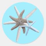 Starfish on Aqua Blue Round Tropical Sticker