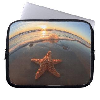 Starfish on Beach at Sunset Computer Sleeve