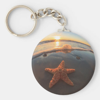 Starfish on Beach at Sunset Keychain