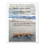 "Starfish on Beach sand wedding Invitation 4.25"" X 5.5"" Invitation Card"