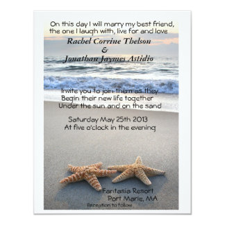 Starfish on Beach sand wedding Invitation