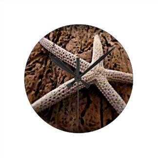 Starfish on Driftwood Round Clock