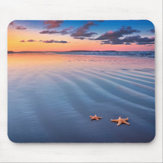 Starfish On Sand Mouse Pad