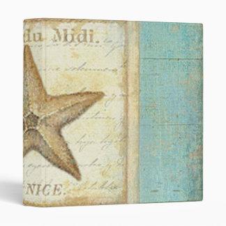 Starfish on Teal Wood 3 Ring Binders