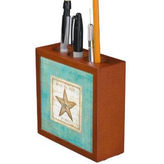Starfish on Teal Wood Desk Organizers