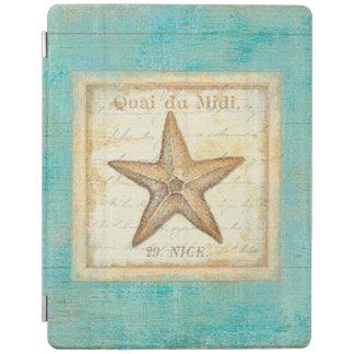 Starfish on Teal Wood iPad Cover