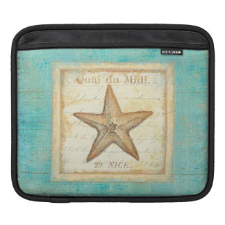 Starfish on Teal Wood iPad Sleeve