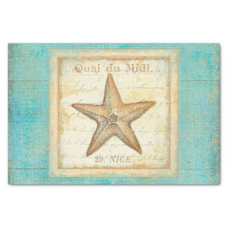 Starfish on Teal Wood Tissue Paper