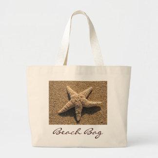 Starfish on the beach jumbo tote bag
