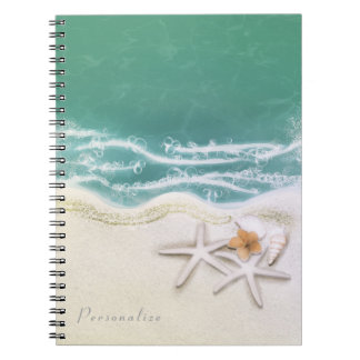 Starfish on the Beach Teal Sea Water Elegant Notebook