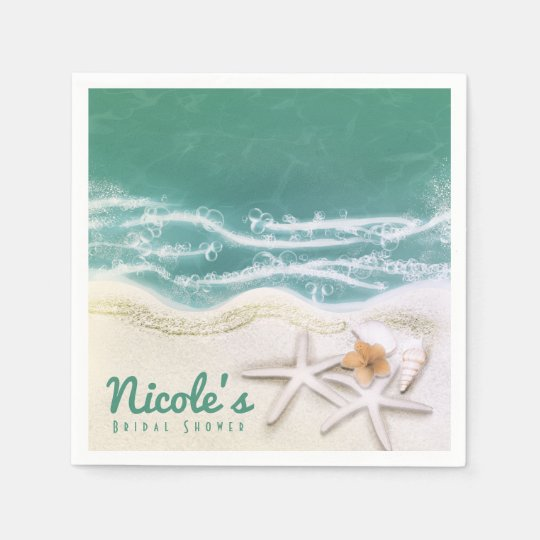 Starfish on the Beach Teal Sea Water Ocean Party Paper Napkins