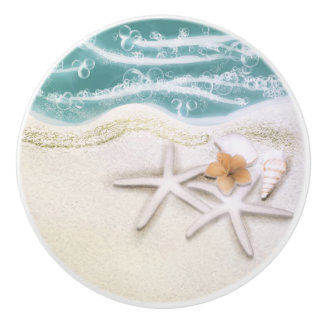 Starfish on the Beach Teal Sea Water Tropical Ceramic Knob