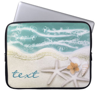 Starfish on the Beach Teal Sea Water Tropical Laptop Sleeve