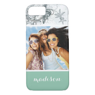 Starfish On The Sea Pattern   Your Photo & Name iPhone 8/7 Case