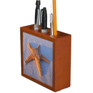 Starfish On White Sand Desk Organizers