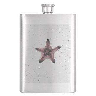 Starfish On White Sand Minimalism Pattern Hip Flask