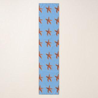 Starfish or sea stars on blue scarf