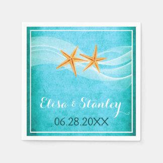 Starfish pair and veil turquoise beach wedding paper napkin
