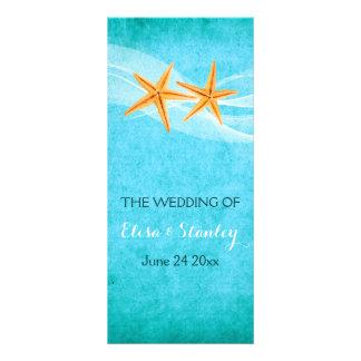 Starfish pair & veil beach wedding program rack card design