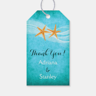 Starfish pair & veil beach wedding Thank You Gift Tags
