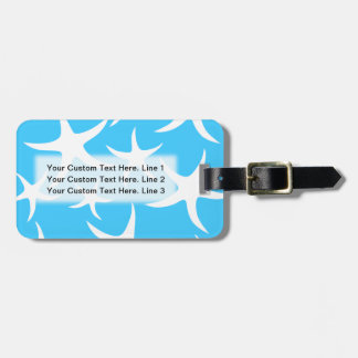Starfish Pattern, Bright Turquoise Blue and White. Bag Tag