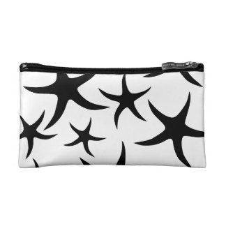 Starfish Pattern in Black and White. Cosmetic Bag