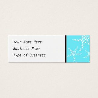 Starfish Pattern in Turquoise and White. Mini Business Card