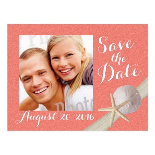 Starfish Photo Save the Date Coral Postcard
