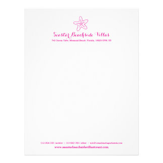 Starfish pink beach property business letter letterhead design