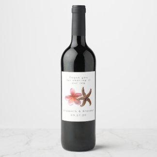 Starfish Pink Plumeria Custom Wedding Wine Label