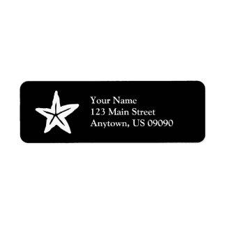 Starfish Return Address Label (Black / White)