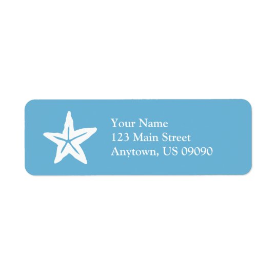 Starfish Return Address Label (Sky Blue / White)