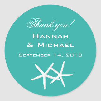 "Starfish Round ""Thank You"" Reception Favor Labels Round Sticker"