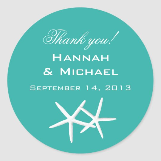"Starfish Round ""Thank You"" Reception Favour Labels"