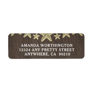 Starfish Rustic Beach Wood Wedding Address Labels