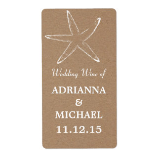 Starfish Rustic Kraft Paper Wedding Wine