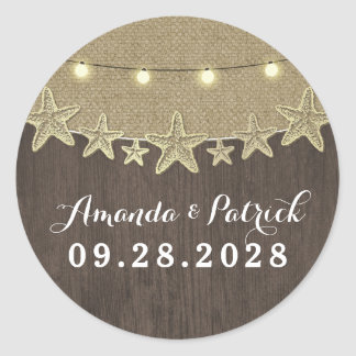 Starfish Rustic Lights Beach Wedding Favor Classic Round Sticker