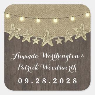 Starfish Rustic Lights Beach Wedding Favor Square Sticker