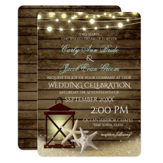 Starfish Rustic Ocean Wood and Lights Card