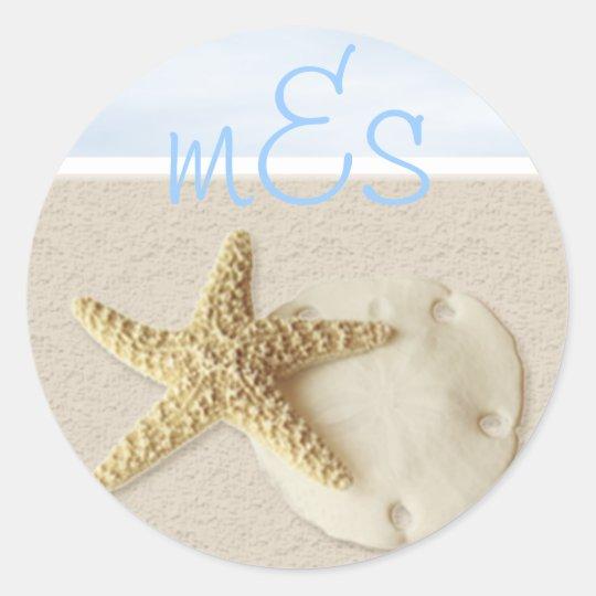 Starfish & Sand Dollar • Customize Me. Classic Round Sticker