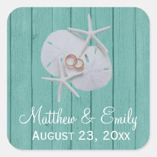 Starfish Sand Dollar Wedding Favor Stickers