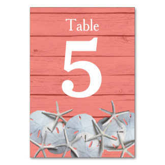 Starfish Sand Dollar Wedding Table Number Cards Table Card