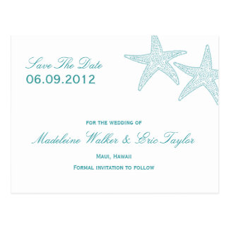Starfish Save The Date Postcard - Turquoise
