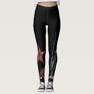 Starfish Sea on Black Leggings