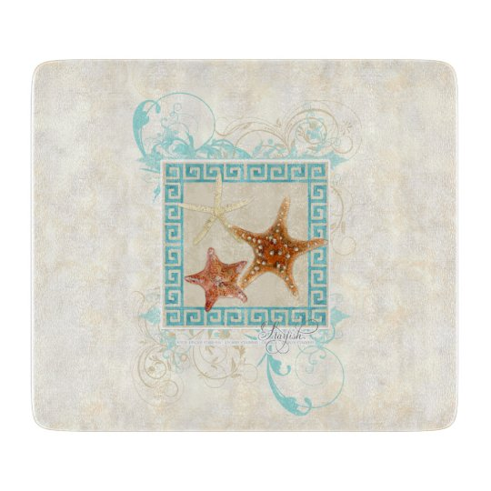 Starfish Sea Shells Ocean Greek Key Pattern Beach Cutting Board